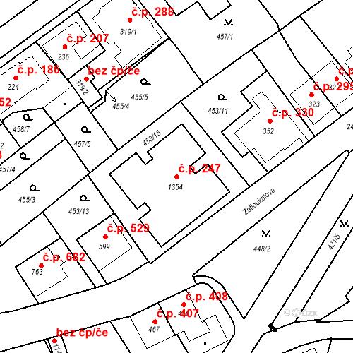 Katastrální mapa Stavební objekt Luhačovice 247, Luhačovice