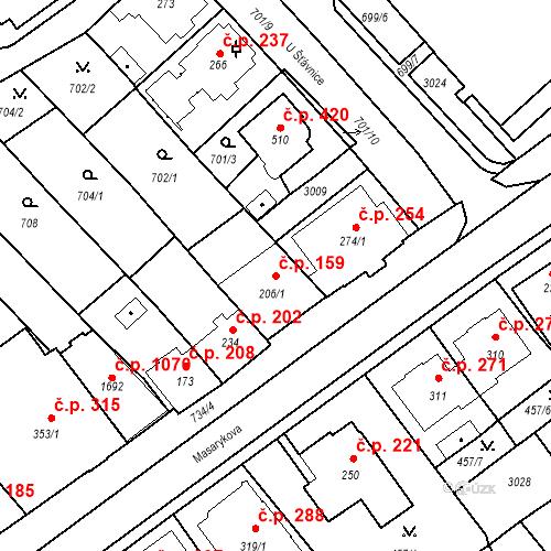Katastrální mapa Stavební objekt Luhačovice 159, Luhačovice