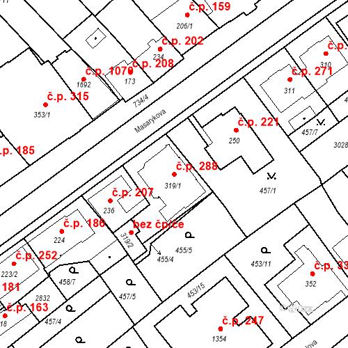 Katastrální mapa Stavební objekt Luhačovice 288, Luhačovice