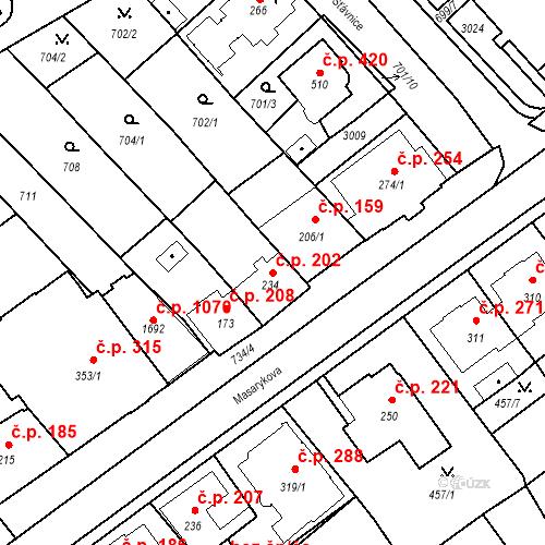 Katastrální mapa Stavební objekt Luhačovice 202, Luhačovice