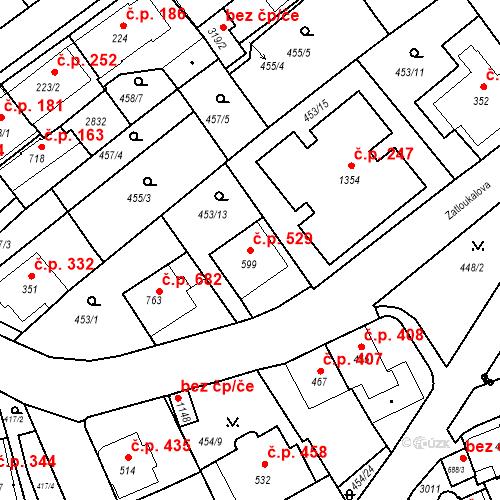 Katastrální mapa Stavební objekt Luhačovice 529, Luhačovice