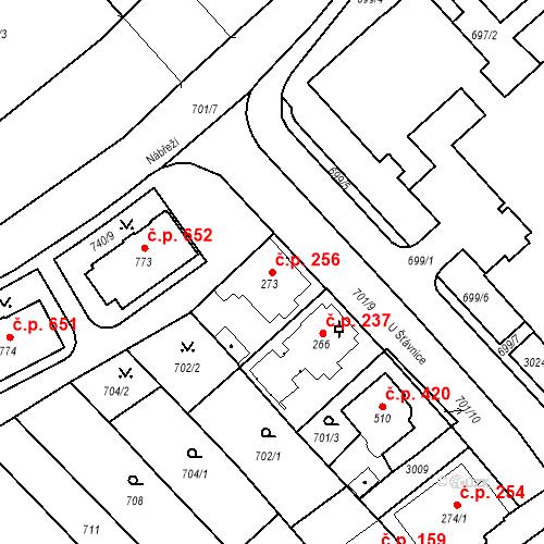 Katastrální mapa Stavební objekt Luhačovice 256, Luhačovice