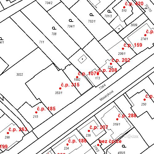 Katastrální mapa Stavební objekt Luhačovice 1070, Luhačovice
