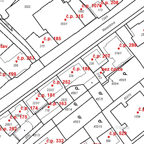 Katastrální mapa Stavební objekt Luhačovice 186, Luhačovice