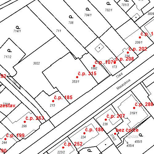 Katastrální mapa Stavební objekt Luhačovice 315, Luhačovice