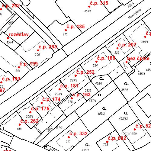 Katastrální mapa Stavební objekt Luhačovice 252, Luhačovice