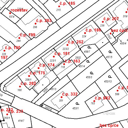 Katastrální mapa Stavební objekt Luhačovice 163, Luhačovice