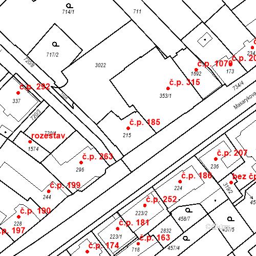 Katastrální mapa Stavební objekt Luhačovice 185, Luhačovice