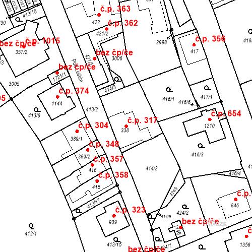 Katastrální mapa Stavební objekt Luhačovice 317, Luhačovice