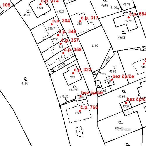 Katastrální mapa Stavební objekt Luhačovice 323, Luhačovice