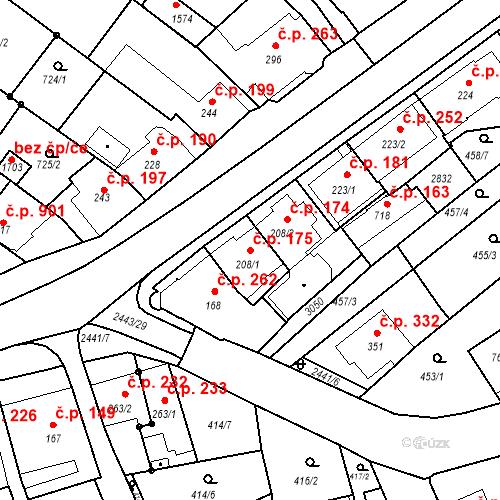 Katastrální mapa Stavební objekt Luhačovice 175, Luhačovice