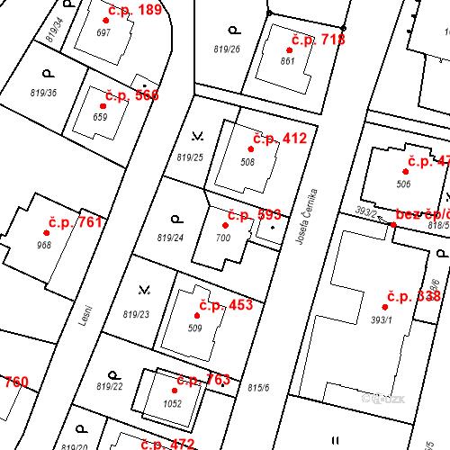Katastrální mapa Stavební objekt Luhačovice 593, Luhačovice