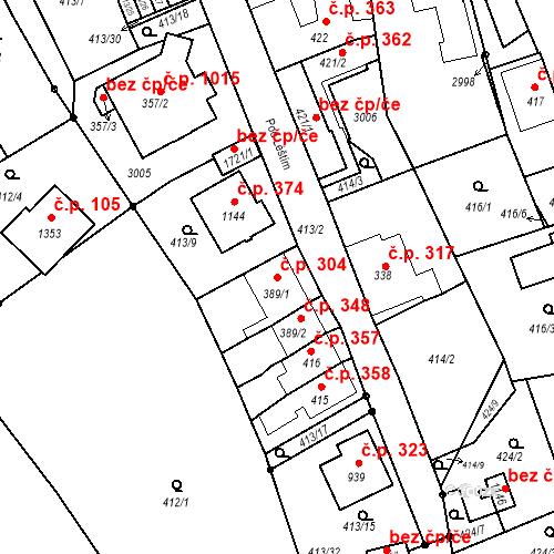 Katastrální mapa Stavební objekt Luhačovice 304, Luhačovice