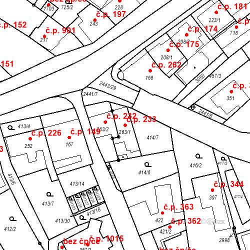 Katastrální mapa Stavební objekt Luhačovice 233, Luhačovice
