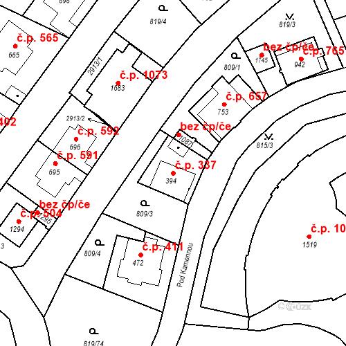 Katastrální mapa Stavební objekt Luhačovice 337, Luhačovice