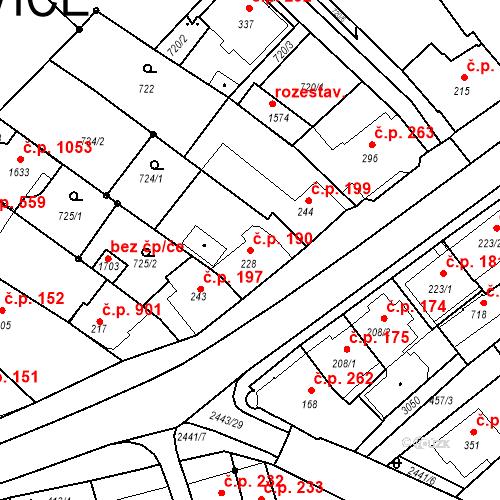 Katastrální mapa Stavební objekt Luhačovice 190, Luhačovice