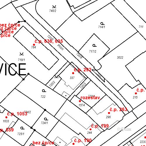 Katastrální mapa Stavební objekt Luhačovice 292, Luhačovice