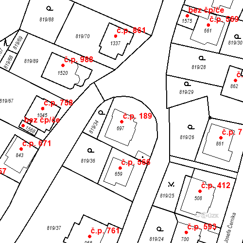 Katastrální mapa Stavební objekt Luhačovice 189, Luhačovice