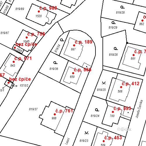 Katastrální mapa Stavební objekt Luhačovice 566, Luhačovice