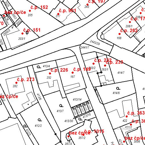 Katastrální mapa Stavební objekt Luhačovice 149, Luhačovice