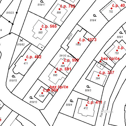 Katastrální mapa Stavební objekt Luhačovice 592, Luhačovice