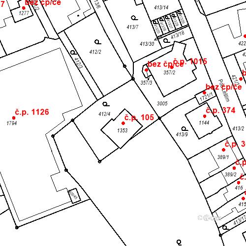 Katastrální mapa Stavební objekt Luhačovice 105, Luhačovice