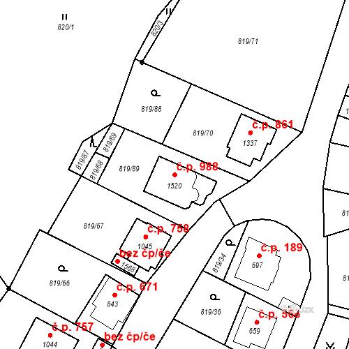 Katastrální mapa Stavební objekt Luhačovice 988, Luhačovice