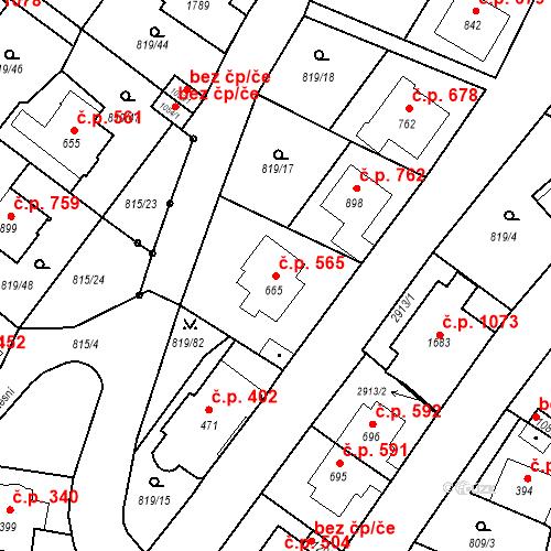 Katastrální mapa Stavební objekt Luhačovice 565, Luhačovice