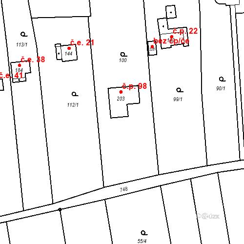 Katastrální mapa Stavební objekt Hrabůvka 98, Hrabůvka