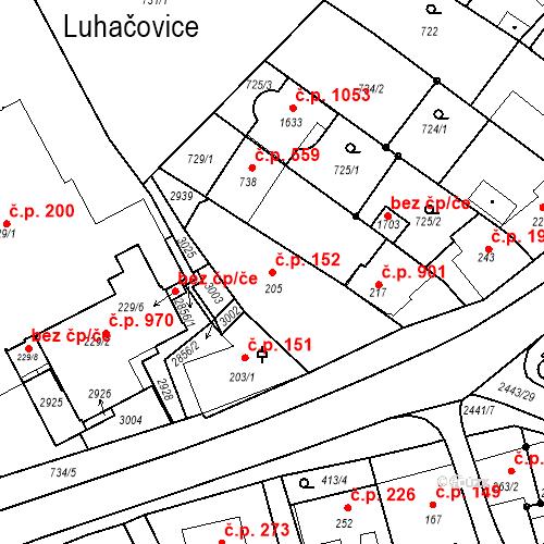 Katastrální mapa Stavební objekt Luhačovice 152, Luhačovice