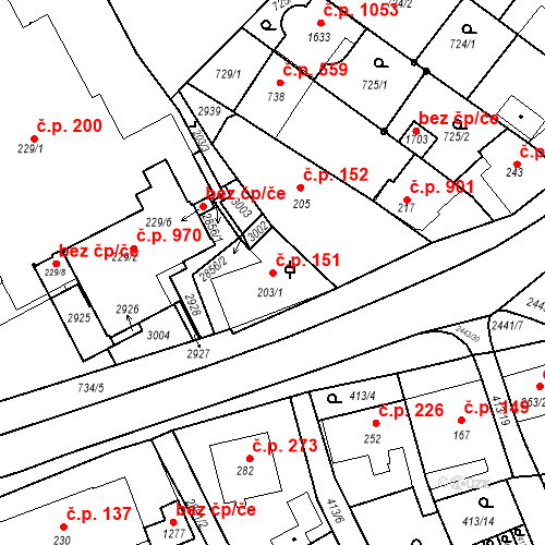 Katastrální mapa Stavební objekt Luhačovice 151, Luhačovice