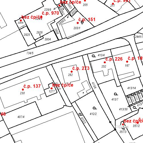 Katastrální mapa Stavební objekt Luhačovice 273, Luhačovice