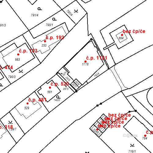 Katastrální mapa Stavební objekt Luhačovice 619, Luhačovice