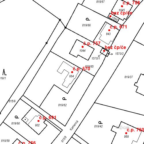 Katastrální mapa Stavební objekt Luhačovice 570, Luhačovice