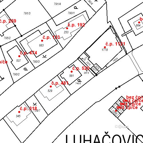 Katastrální mapa Stavební objekt Luhačovice 520, Luhačovice