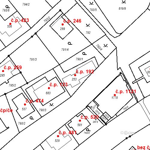 Katastrální mapa Stavební objekt Luhačovice 192, Luhačovice