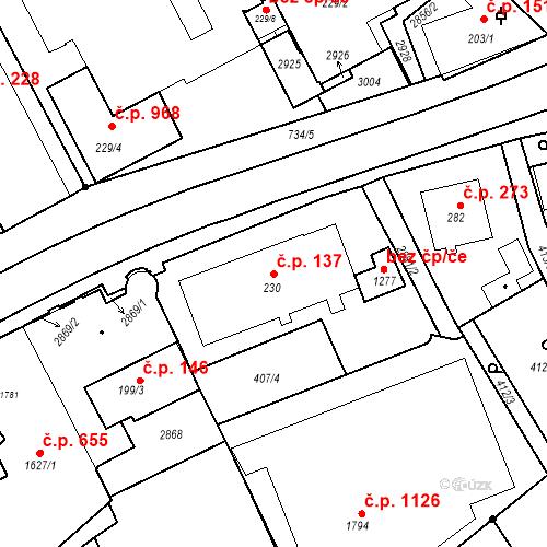 Katastrální mapa Stavební objekt Luhačovice 137, Luhačovice