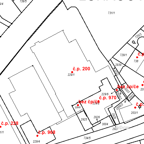 Katastrální mapa Stavební objekt Luhačovice 200, Luhačovice