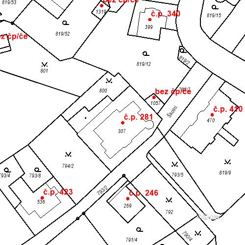 Katastrální mapa Stavební objekt Luhačovice 281, Luhačovice