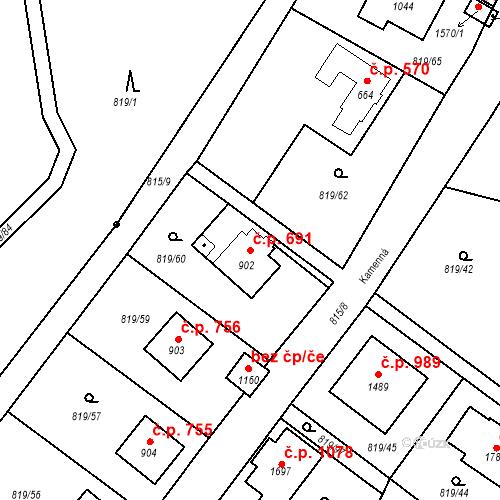 Katastrální mapa Stavební objekt Luhačovice 691, Luhačovice