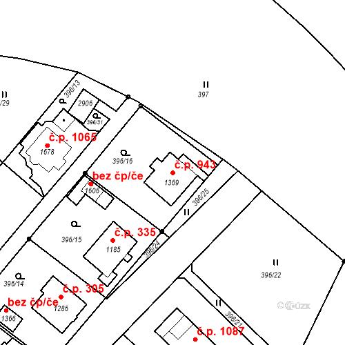 Katastrální mapa Stavební objekt Luhačovice 943, Luhačovice