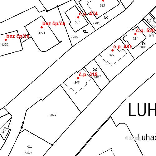 Katastrální mapa Stavební objekt Luhačovice 318, Luhačovice