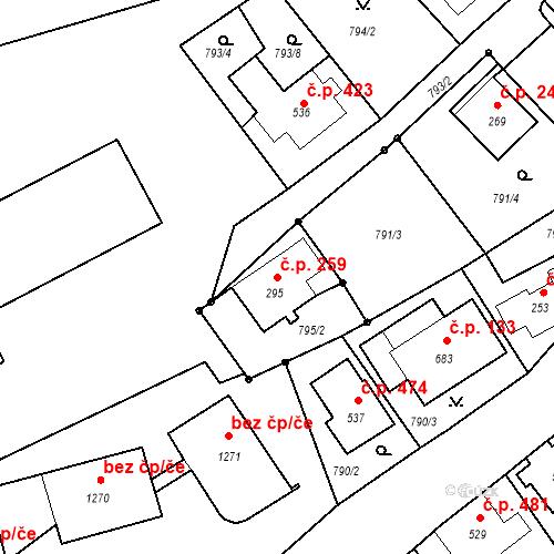Katastrální mapa Stavební objekt Luhačovice 259, Luhačovice