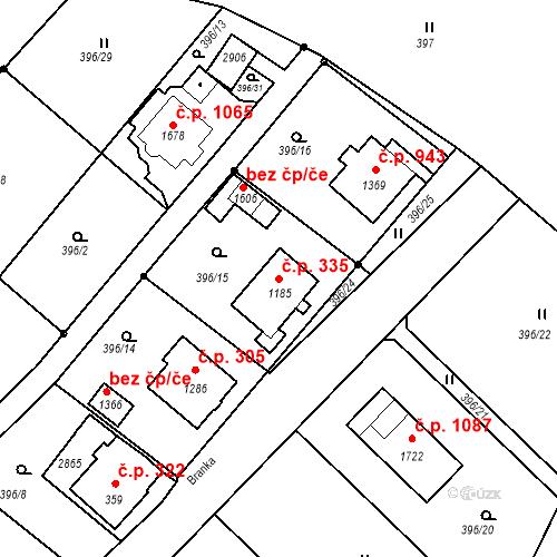 Katastrální mapa Stavební objekt Luhačovice 335, Luhačovice