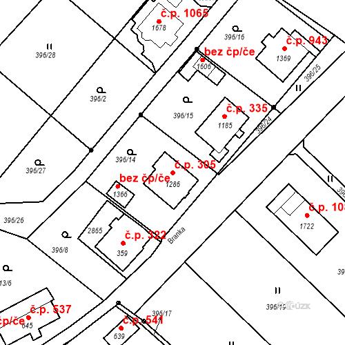 Katastrální mapa Stavební objekt Luhačovice 305, Luhačovice
