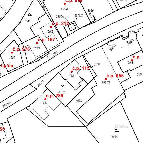Katastrální mapa Stavební objekt Luhačovice 115, Luhačovice