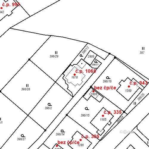 Katastrální mapa Stavební objekt Luhačovice 1065, Luhačovice