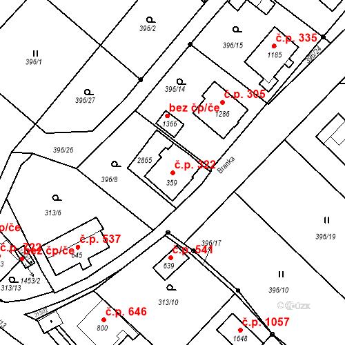 Katastrální mapa Stavební objekt Luhačovice 322, Luhačovice