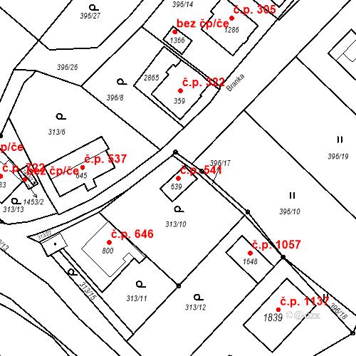 Katastrální mapa Stavební objekt Luhačovice 541, Luhačovice