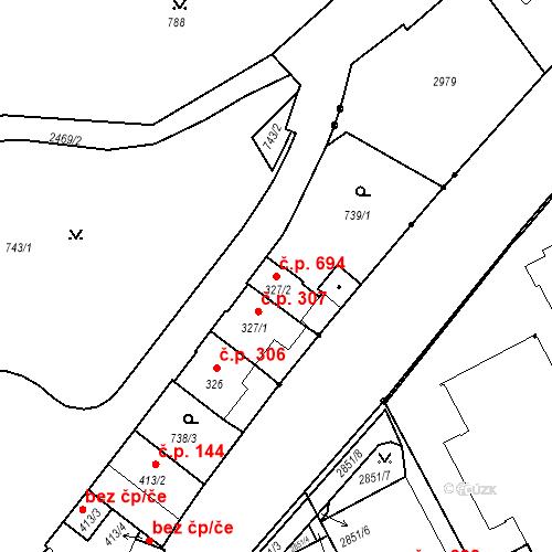 Katastrální mapa Stavební objekt Luhačovice 694, Luhačovice